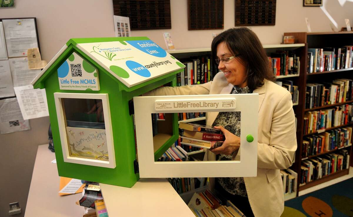 Melissa Baker, marketing and program coordinator for the Montgomery County Memorial Library System, stocks the Little Free Library in Conroe.