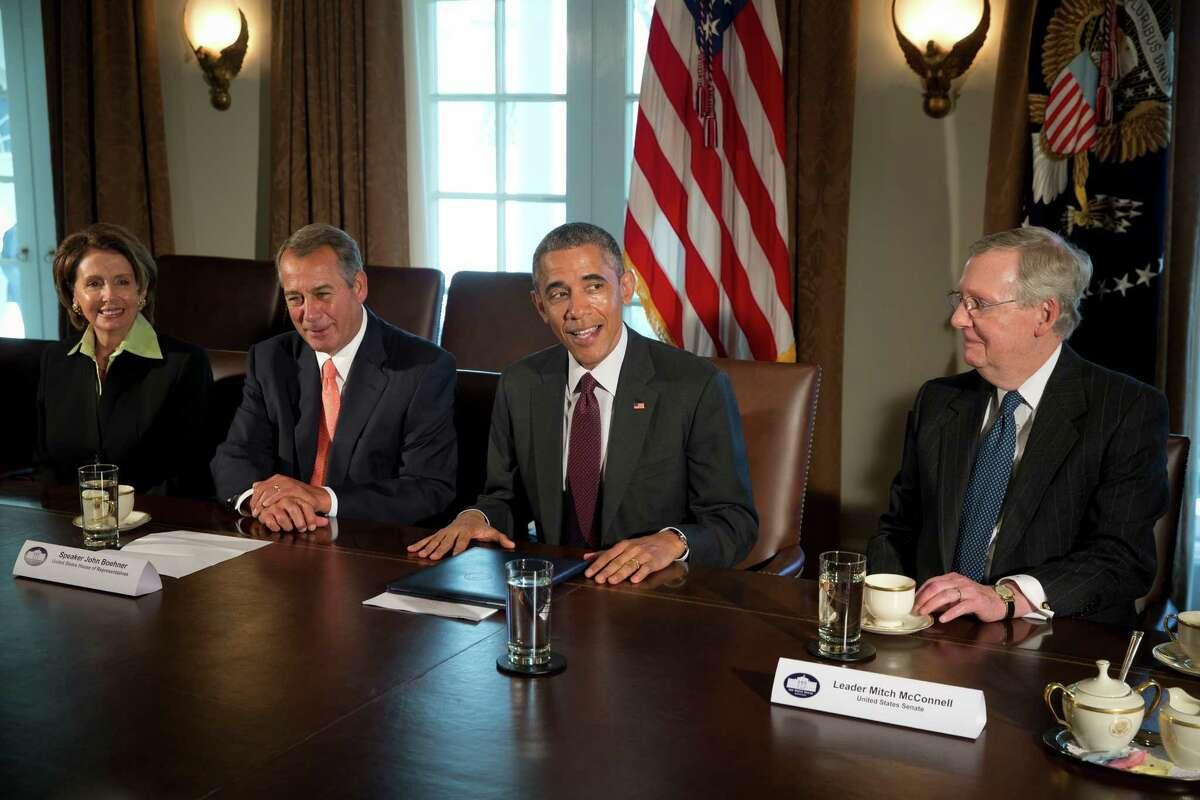 President Obama holds talks with House Minority Leader Nancy Pelosi, House Speaker John Boehner and Senate Majority Leader Mitch McConnell.