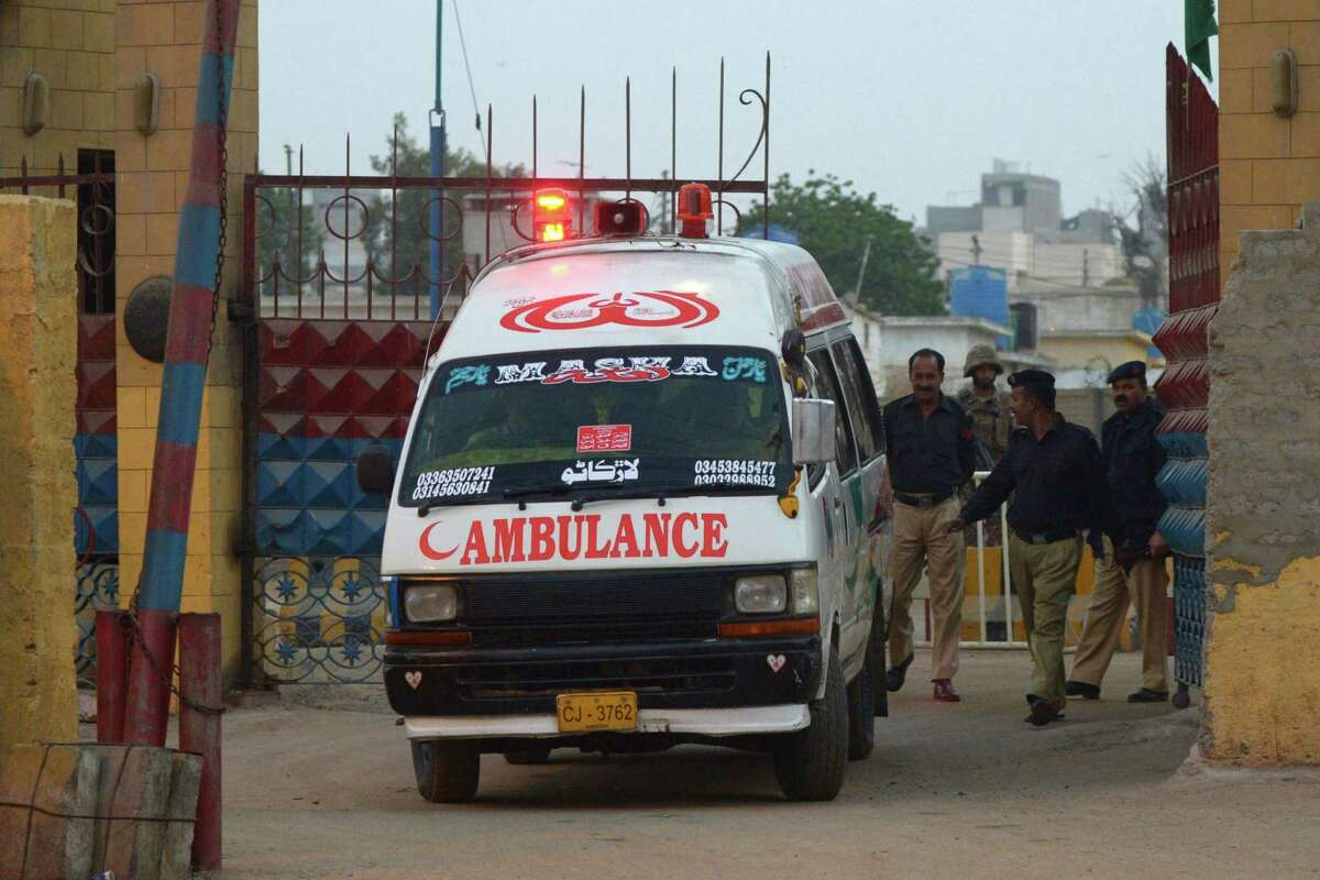 An ambulance carrying the body of an executed prisoner departs a Karachi jail, raising to 16 the number of executions carried out since it lifted a six-year moratorium on the death penalty.