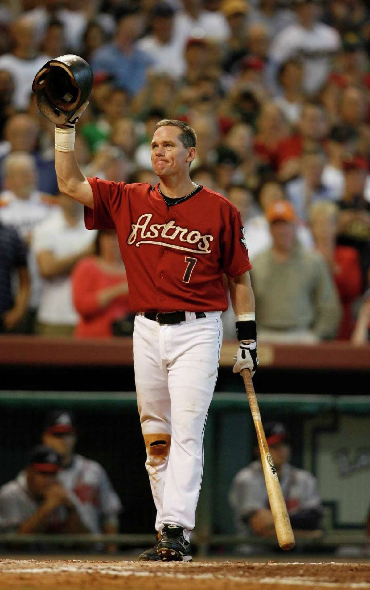 ASTROS 3. Craig Biggio, No. 7 He's the only career Astro in the Baseball Hall of Fame and his No. 7 is ubiquitous around Minute Maid Park. Another cool thing about Biggio's career: It spanned three different Astros uniform eras, so there are a variety of Biggio jerseys to be had.