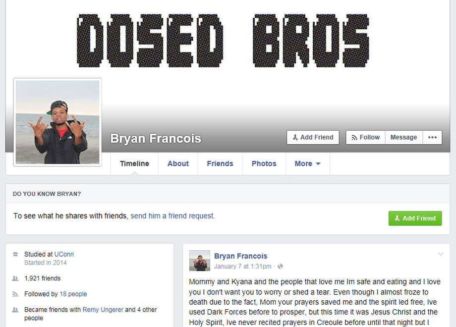 "The facebook page of Bryan Francois. Francois, who was the subject of an intense manhunt has taken to Facebook to taunt police, calling himself the ""Black Houdini"" after evading police custody in Cos Cob Jan. 5, 2015. Photo: Contributed Photo / Greenwich Time Contributed"