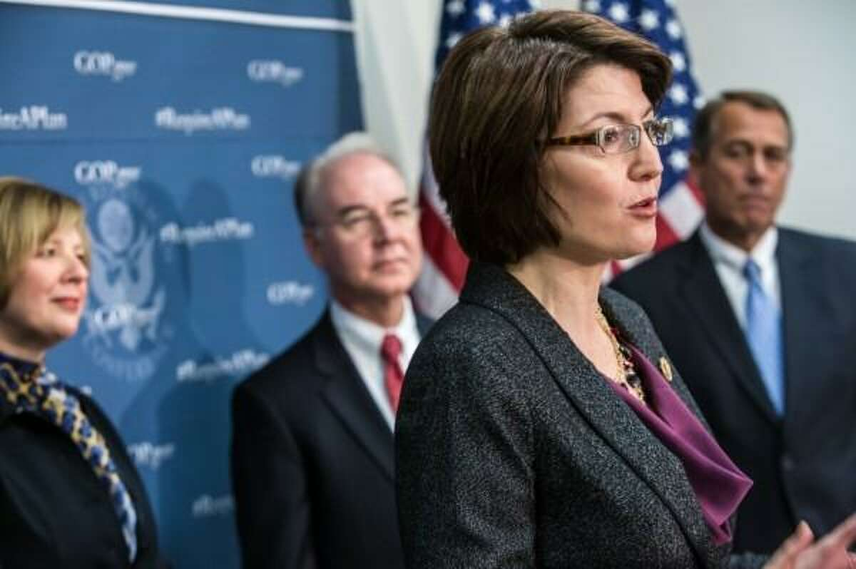 Rep. Cathy McMorris-Rodgers, R-Wash., an opponent of abortion, speaks to the annual March for Life in Washington, D.C.