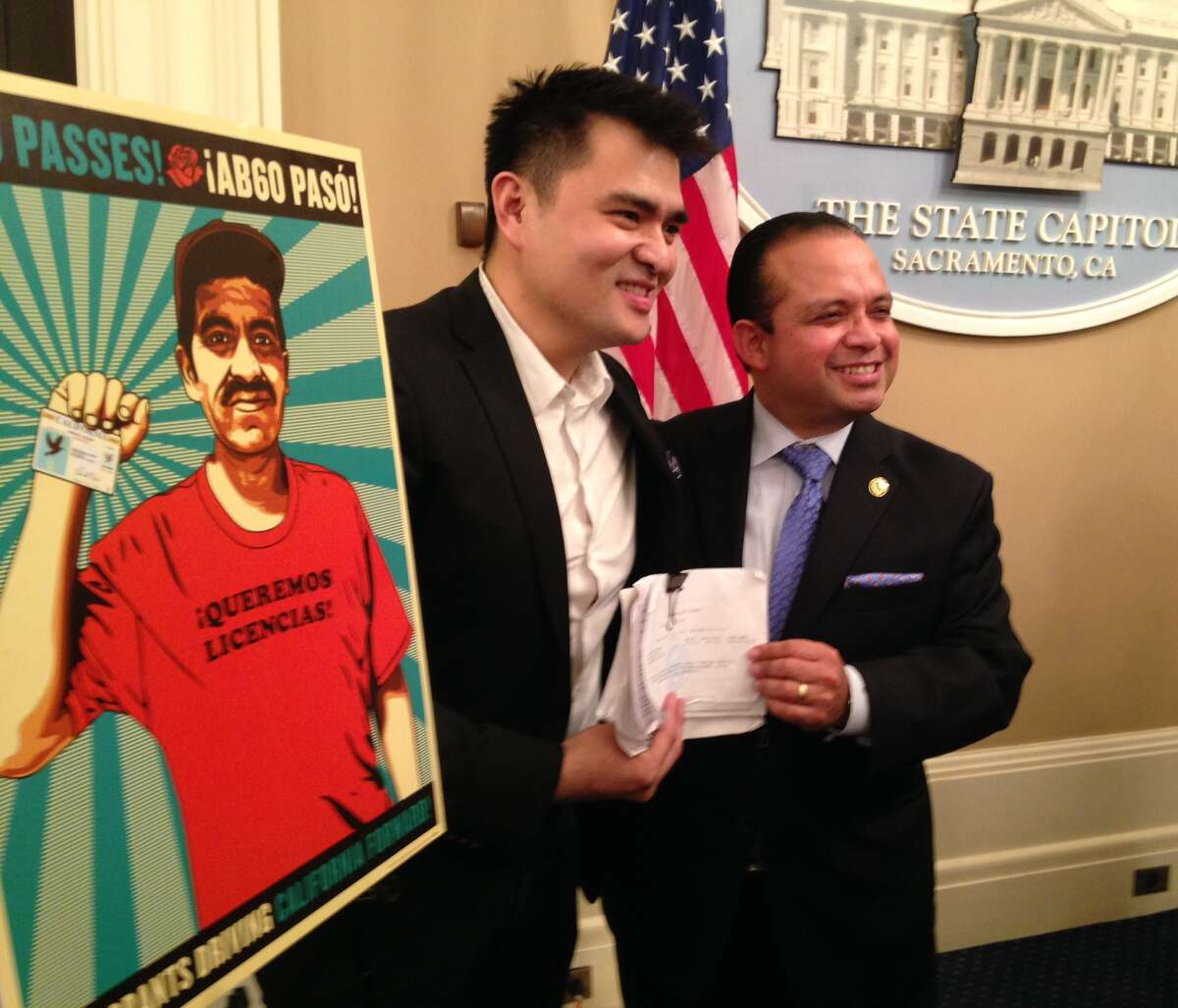 Jose Antonio Vargas with Assembly- man Luis Alejo, the new law's author.