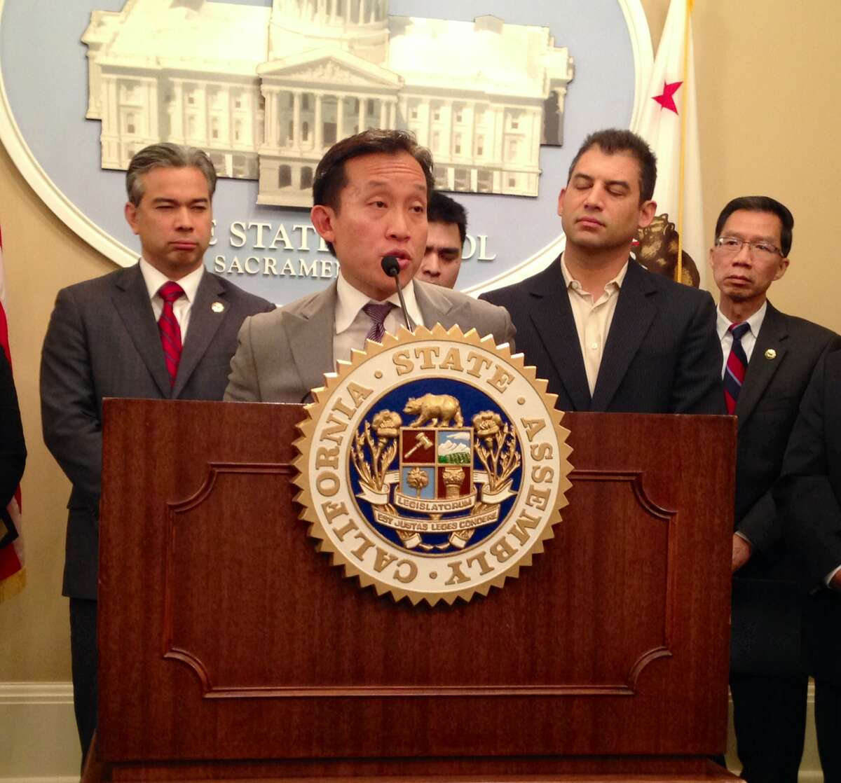 State Assemblyman David Chiu, D-San Francisco, joins members of the Asian and Pacific Islander Legislative Caucus on Tuesday to raise awareness about the state's new driver's licenses to ensure all immigrant groups are aware of the law.