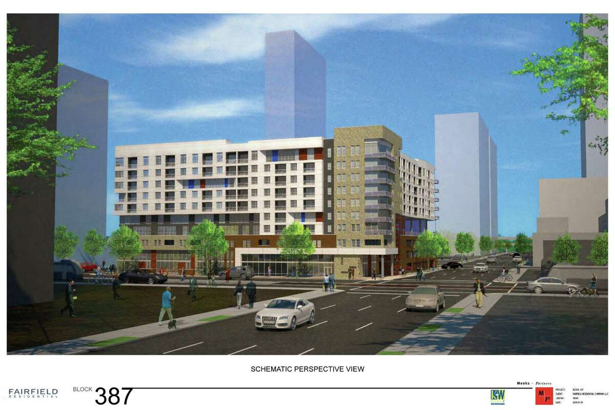 A 290-unit apartment building is proposed at Main and Jefferson. The space is now a parking lot.