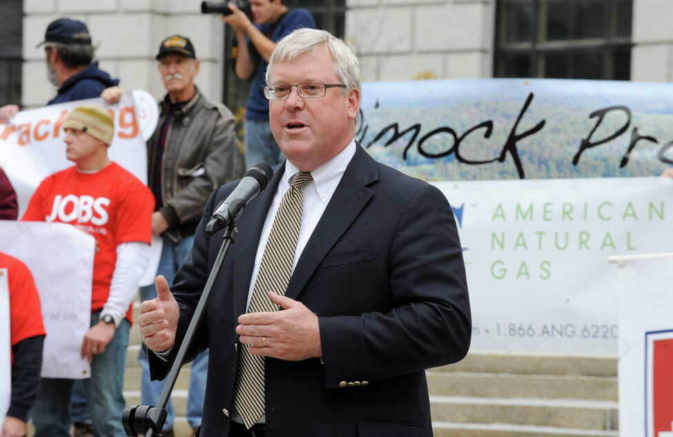 State Senator Tom O'Mara speaks during a rally supporting hydrofracking Monday, Oct. 15, 2012, in Albany, N.Y. (Lori Van Buren / Times Union archive)
