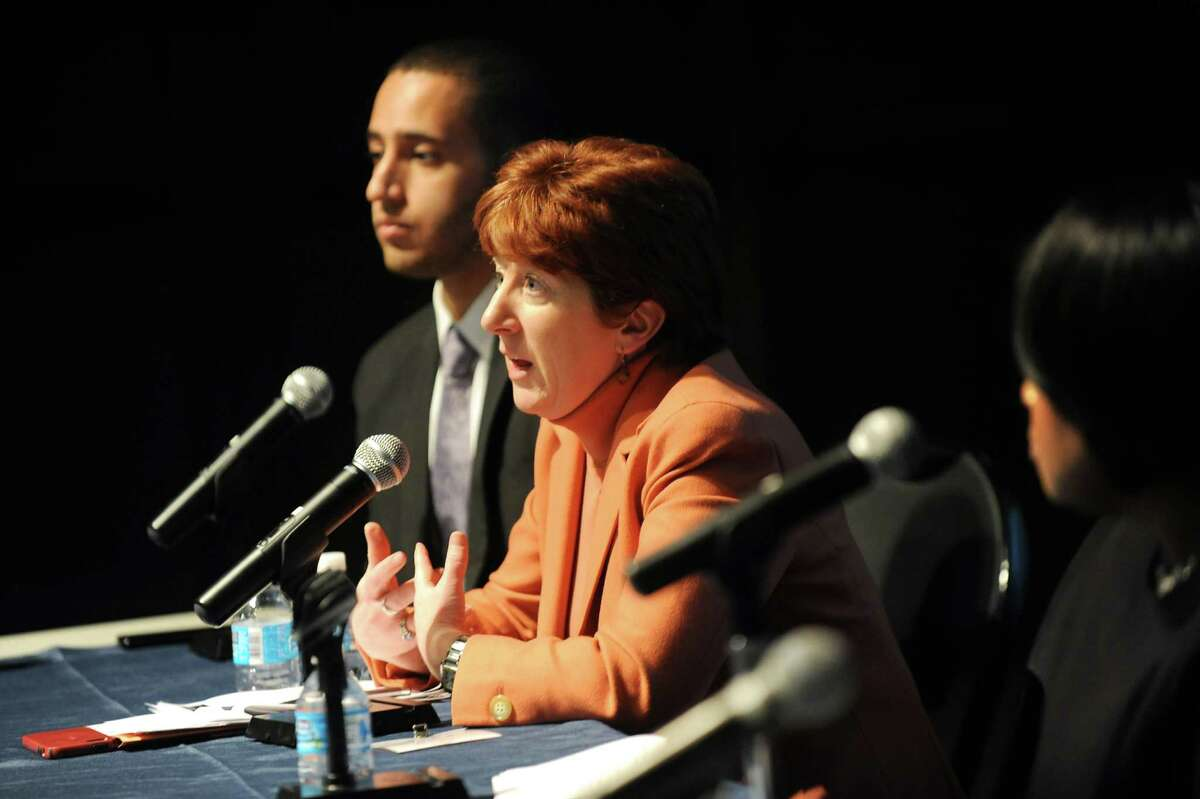 Albany Mayor Kathy Sheehan, center, speaks during policy forum entitled