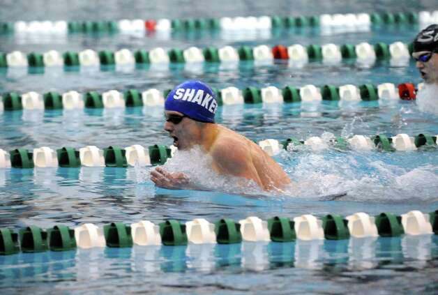 Shaker's Will Matz finshes first in the 200 individual medly during their boy's high school swim meet against Shenendehowa on Tuesday Jan. 13, 2015 in Clifton Park, N.Y. (Michael P. Farrell/Times Union) Photo: Michael P. Farrell / 00030130A