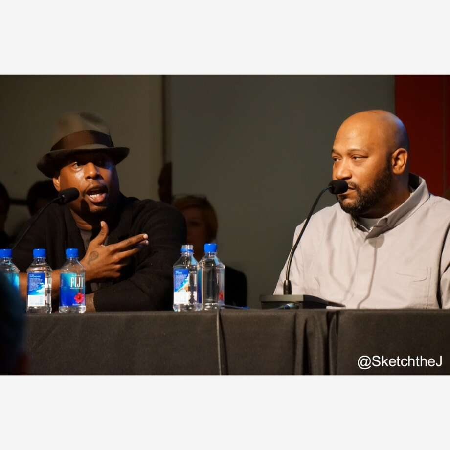 Rappers Talib Kweli and Bun B discuss the influence of Ghandi and Martin Luther King, Jr. on hip hop culture. Photo: Sketch The Journalist, 2015