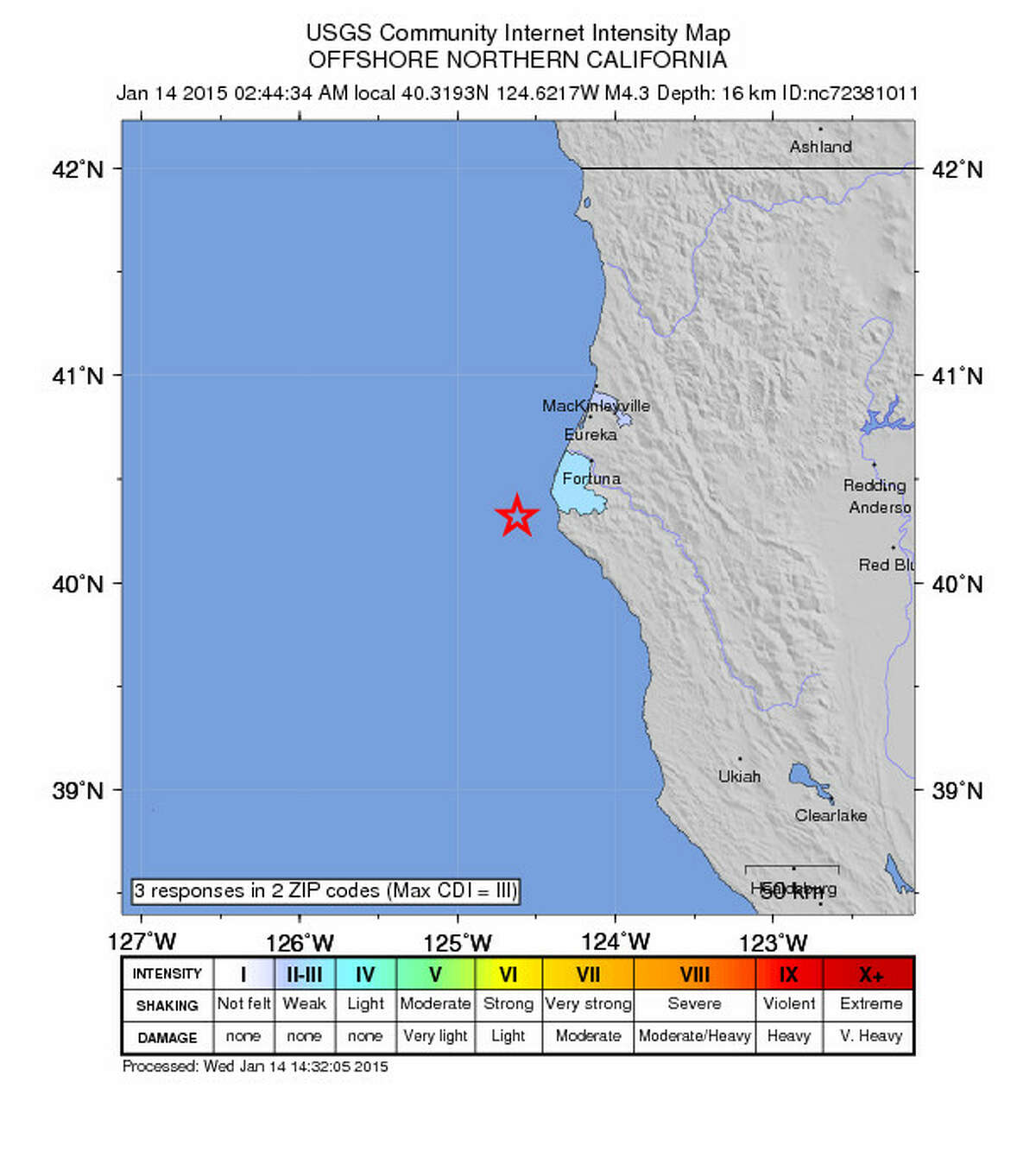 A magnitude 4.3 earthquake struck just off the cost of Ferndale, Calif. early this morning.