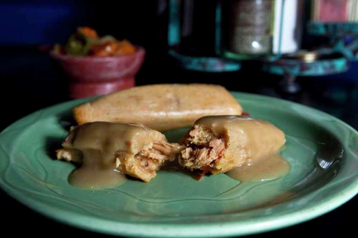 The turkey tamales at the Berryhill Baja Grill on Post Oak Boulevard Wednesday, Nov. 3, 2010, in Houston.