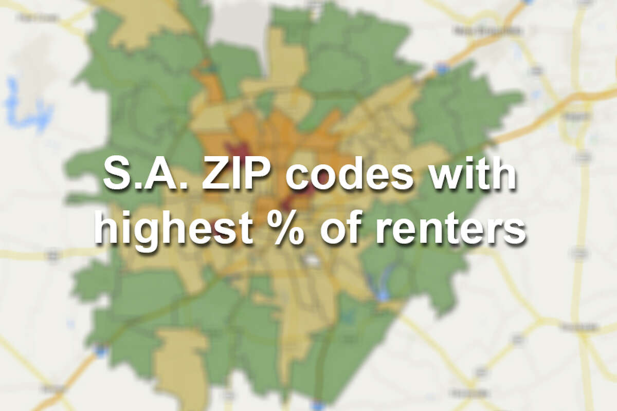 See which San Antonio ZIP codes have the highest percent of renters. Also included in the data is the estimated gross median rent for each ZIP code. Red: 75% or higher Orange: 50% or higher Yellow: 25% or higher Green: under 25% renters