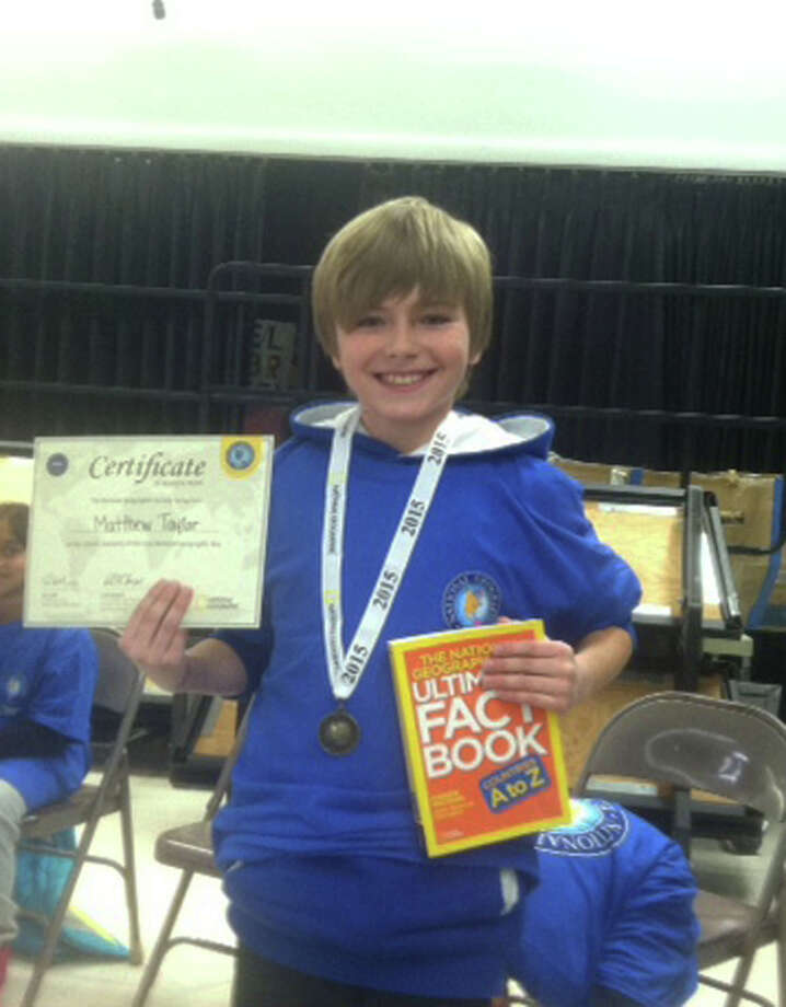 Matthew Taylor, a 5th grader, was the winner of the Ox Ridge School Geography Bee, which was held recently. Photo: Contributed Photo / Greenwich Time Contributed