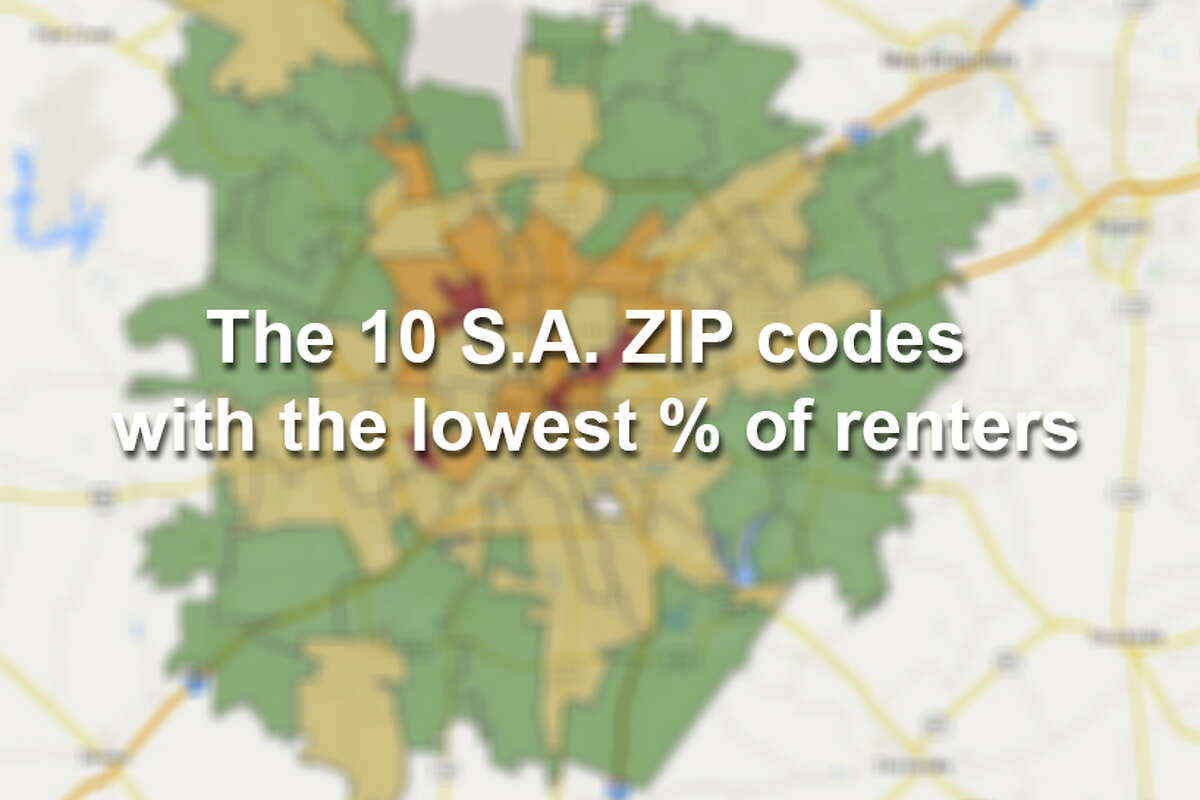 These San Antonio ZIP codes have the lowest percent of renters, according to Census Bureau data. Also included is the estimated gross median rent for each ZIP code. Red: 75% or higher Orange: 50% or higher Yellow: 25% or higher Green: under 25% renters