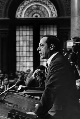 Gov. Mario Cuomo addresses a joint session of the legislature in the Assembly Chamber, Jan. 5, 1983, at the Capitol in Albany, N.Y. (Skip Dickstein/Times Union archive)