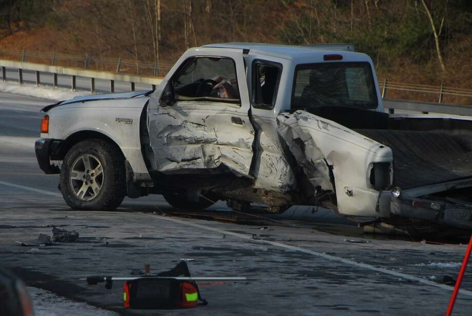 The driver of a pickup truck was killed after a collision Wednesday morning with a state police SUV. (Lance Wheeler / Special to the Times Union)