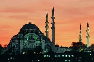 TURKEY - APRIL 08: Suleymaniye Mosque at sunset, 1550-1557, historic centre of Istanbul (UNESCO World Heritage List, 1985), Turkey.