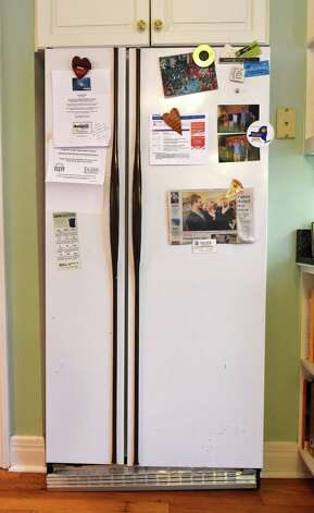 The refrigerator in the home of Saratoga Springs Mayor Joanne Yepsen at her home Wednesday afternoon Nov. 26, 2014 in Saratoga Springs, N.Y.      (Skip Dickstein/Times Union) Photo: SKIP DICKSTEIN / 00029622A