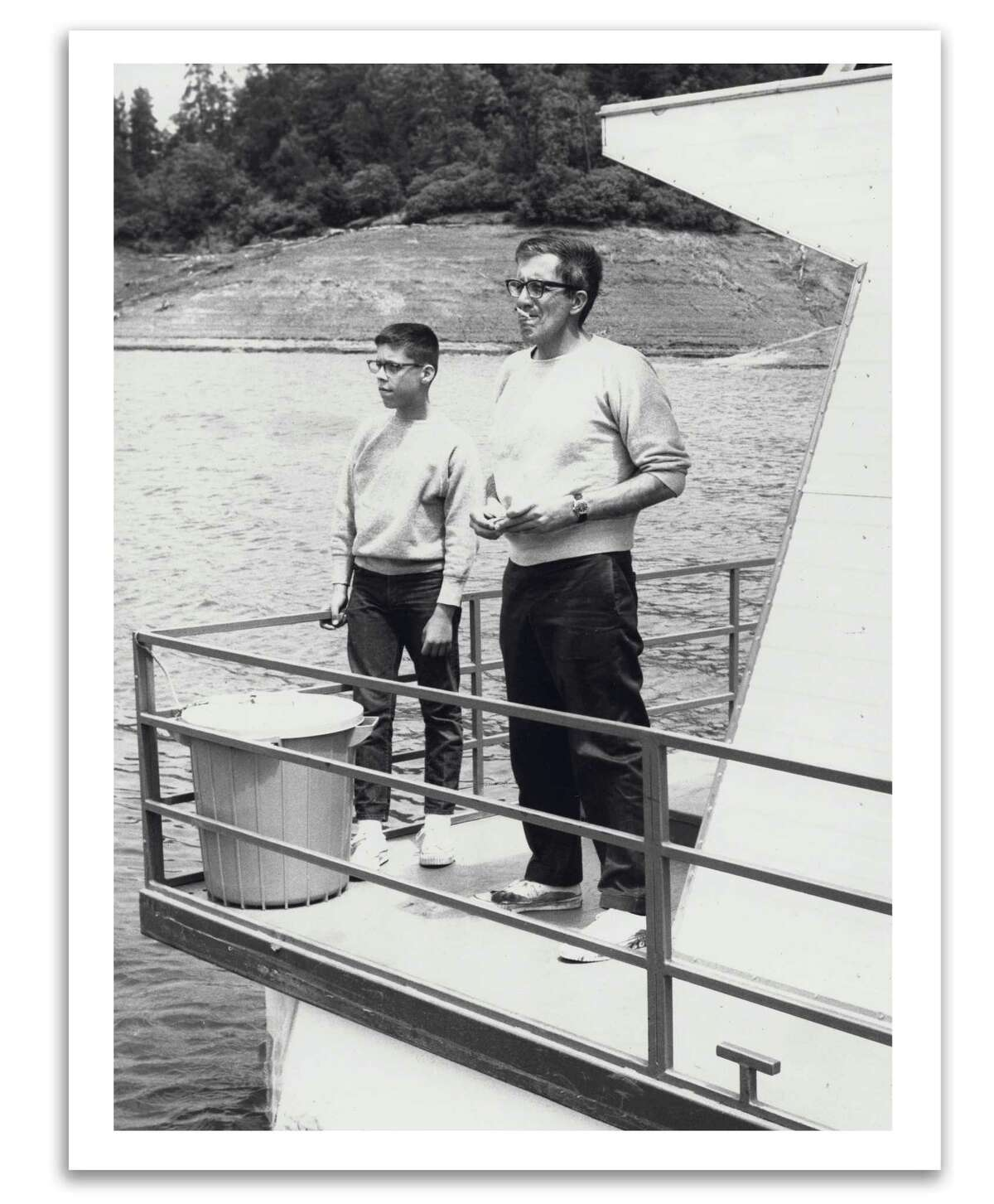 KQED host Greg Sherwood fishes with his father on Lake Shasta in the early 1960s.