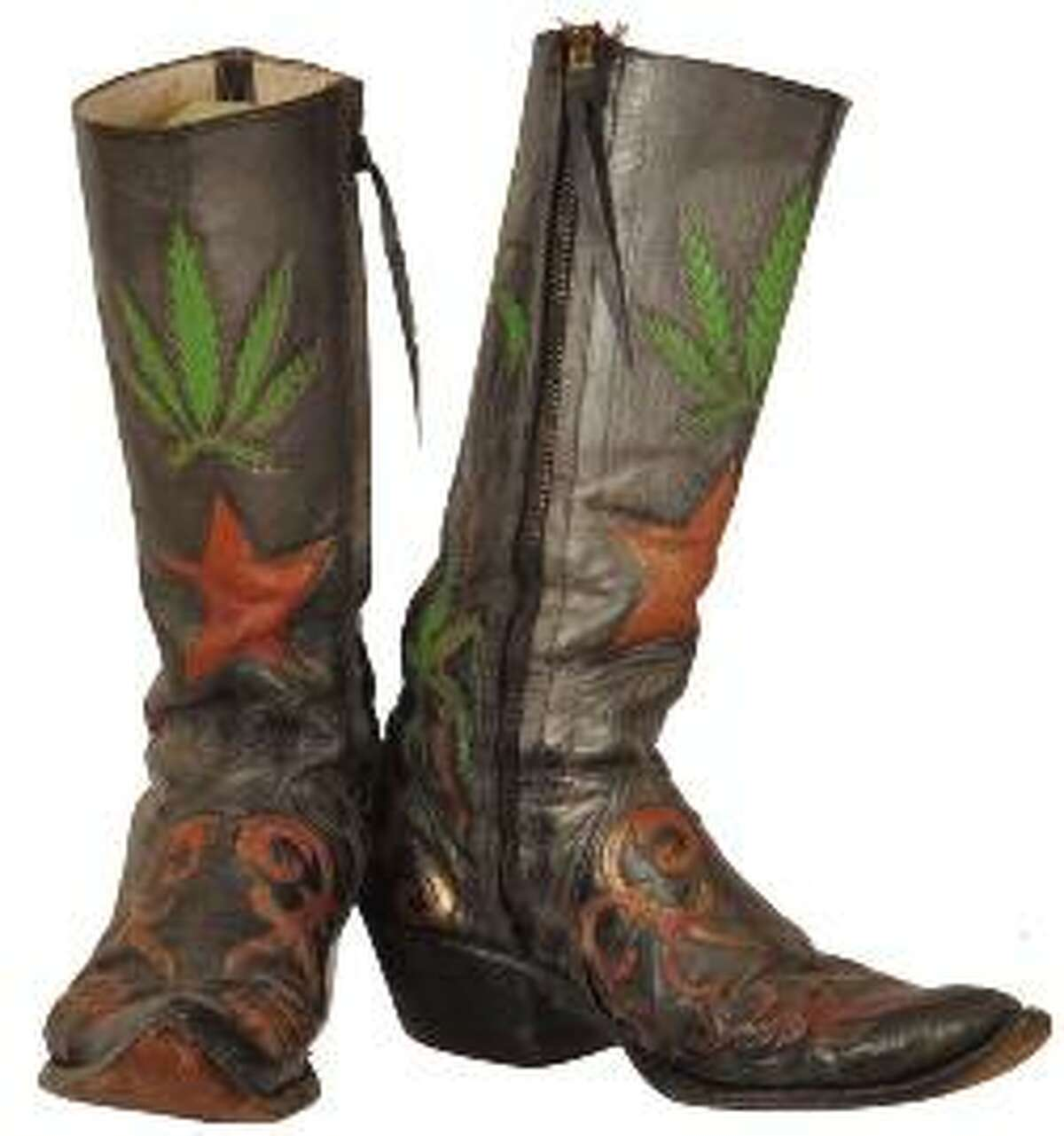 The Original Pair of Charlie Dunn Marijuana Boots Item for auction from the collection of Armadillo World Headquarters & Threadgill's Collection.