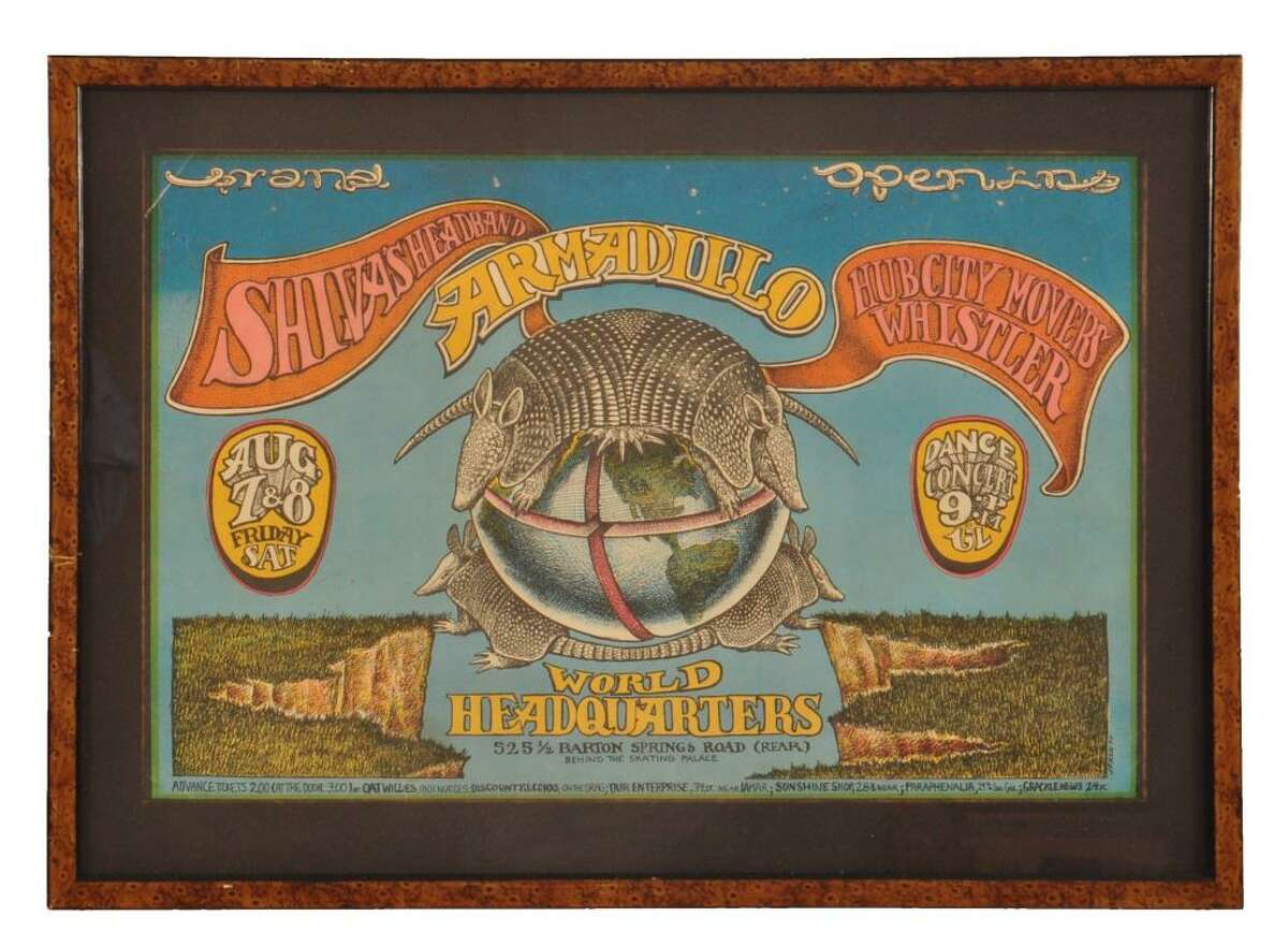 Armadillo World Headquarters Grand Opening Poster Item for auction from the collection of Armadillo World Headquarters & Threadgill's Collection.