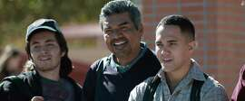 "Jose Julian, George Lopez and Carlos PenaVega in ""Spare Parts."""