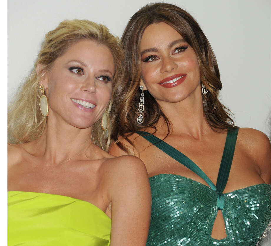 """Who's prettier?  Julie Bowen or Sofia Vergara? The """"Modern Family"""" actresses were photographed at the 64th Primetime Emmy Awards. Photo: Jeffrey Mayer, Contributor / 2012 Jeffrey Mayer"""
