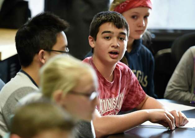 Middle school student Ian Choi gives his thoughts on his work on a non profit business to aid third world countries at the Brown School Wednesday morning Jan. 14, 2015 in Schenectady, N.Y.  The students are in a program to set up their own non-profit companies that will give back to the world.  (Skip Dickstein/Times Union) Photo: SKIP DICKSTEIN / 00030156A