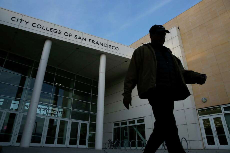 "Jaime Moran, CCSF alum and parent of a student, at the main campus says of the reprieve: ""It's great news for everyone."" Photo: Mike Kepka / The Chronicle / ONLINE_YES"