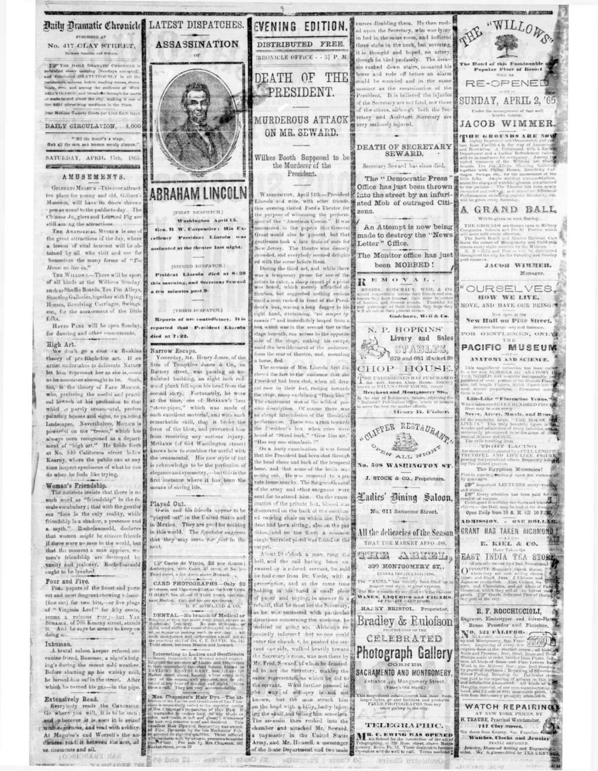 Chronicle 1865 front page when President Abraham Lincoln was assassinated.