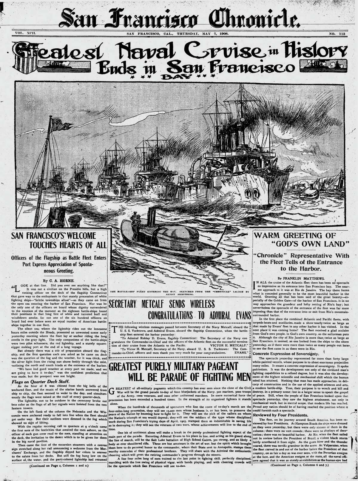 Chronicle front page when the Great White Fleet of the U.S. Navy came into San Francisco Bay.