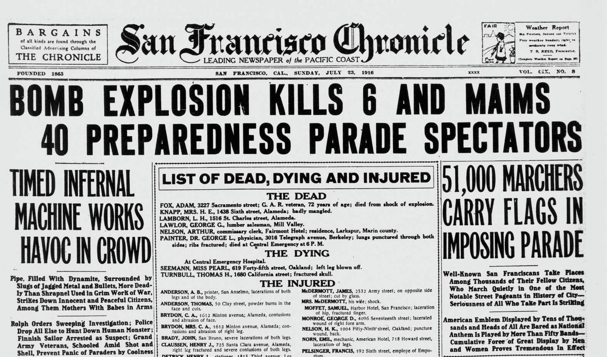 Chronicle front page from July 23, 1916, when the San Francisco Preparedness Day Parade was bombed.