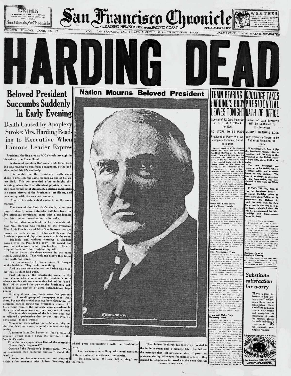 An ailing, haggard Warren G. Harding was put through a series of outdoor events on a hot day in August 1923 after a strenuous trip to Alaska. The Seattle exertions likely contributed to his death soon after in a San Francisco hotel room.