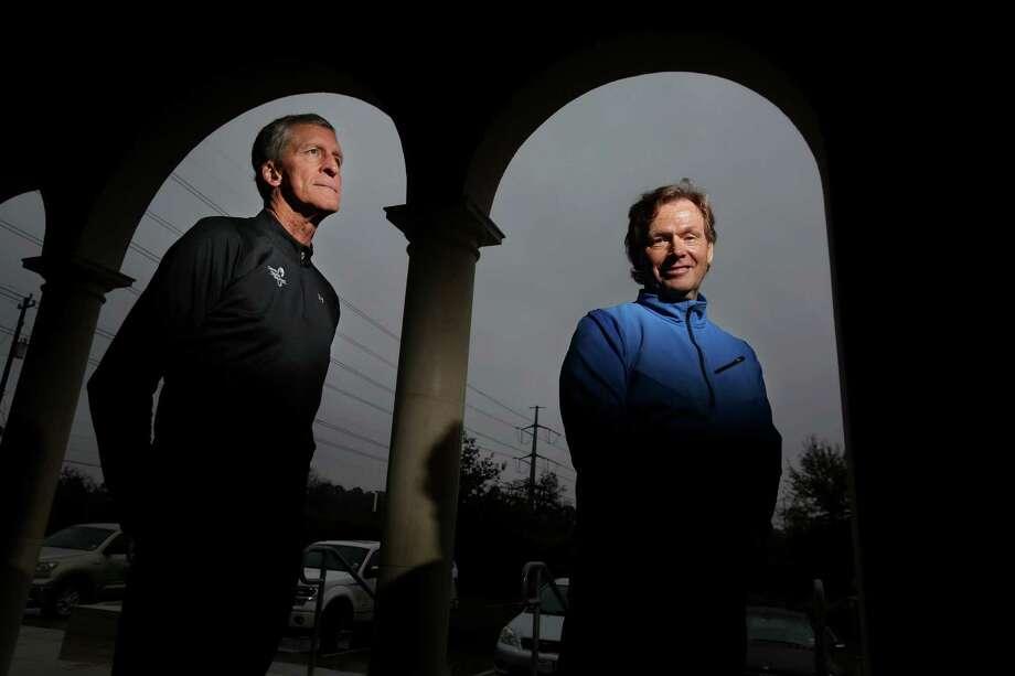 Thanks to Dr. Gavin Britz, right, Malcom Gibson will run his 27th Houston Marathon after having a massive brain stem hemorrhage in May. The two will run together. Photo: Gary Coronado, Staff / © 2015 Houston Chronicle