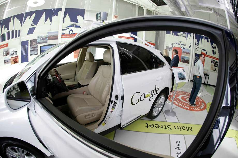 A Google self-driving car is exhibited at the Computer History Museum in Mountain View, Calif.  Photo: Eric Risberg, STF / AP