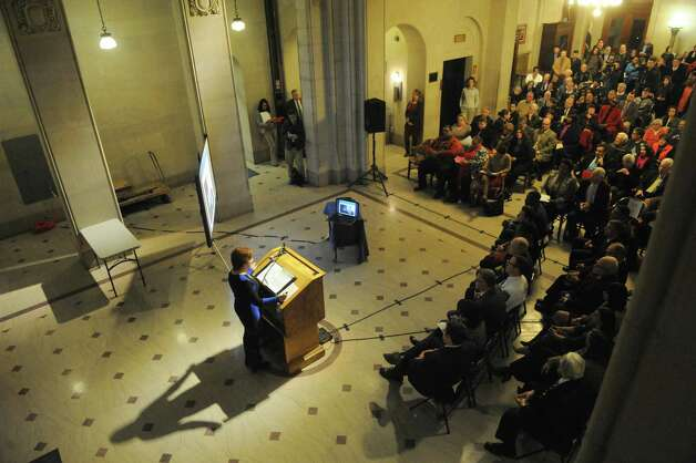 Mayor Kathy Sheehan delivers her state of the city address in the rotunda of City Hall on Wednesday Jan. 14, 2015 in Albany, N.Y. (Michael P. Farrell/Times Union) Photo: Michael P. Farrell / 00030187A