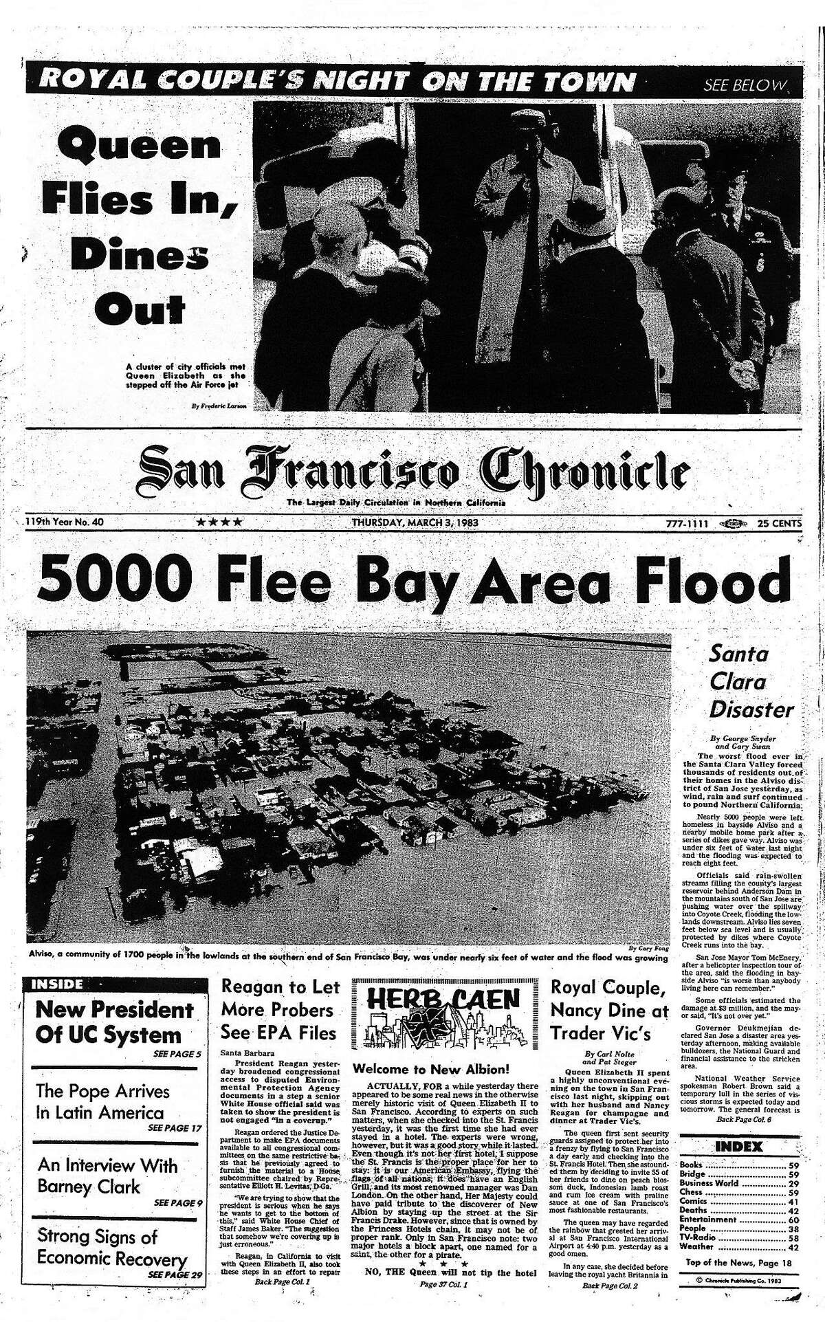 The Chronicle front page on March 3, 1983, reported on widespread flooding in the Bay Area.
