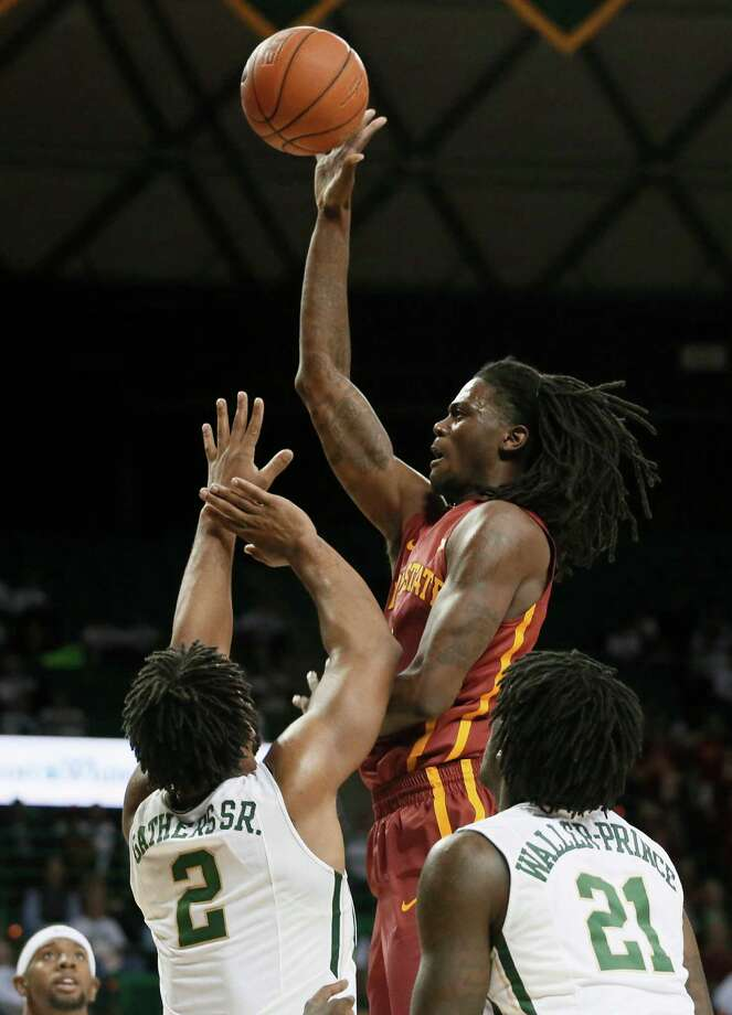 Baylor's Rico Gathers (2) and Taurean Prince (21) defend as Iowa State's Jameel McKay, center, goes up to shoot in the first half of an NCAA college basketball game, Wednesday, Jan. 14, 2015, in Waco, Texas. (AP Photo/Tony Gutierrez) Photo: Tony Gutierrez, STF / AP