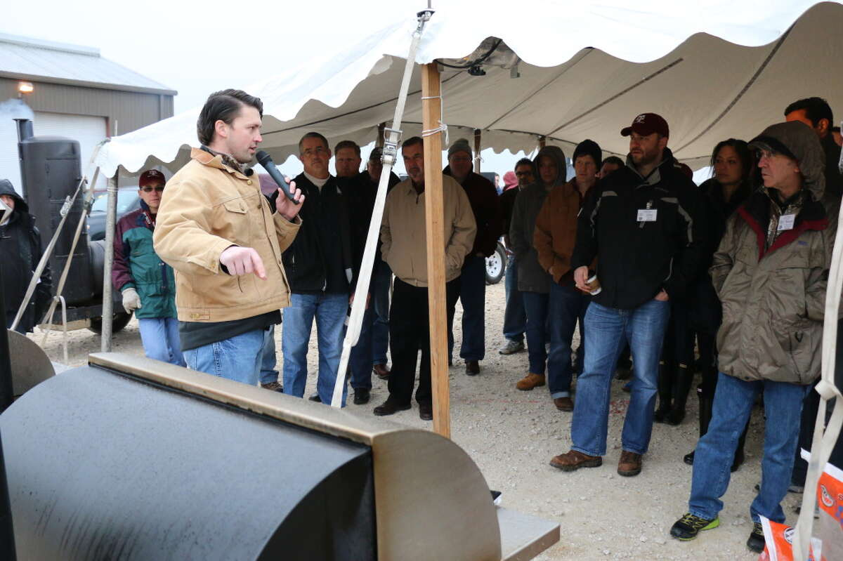 Ryan Zboril from Pitts and Spitts, speaking on pit design at Camp Brisket 2015, at Texas A&M University.
