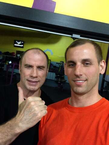John Travolta gets friendly with stranger during 3 A M  workout