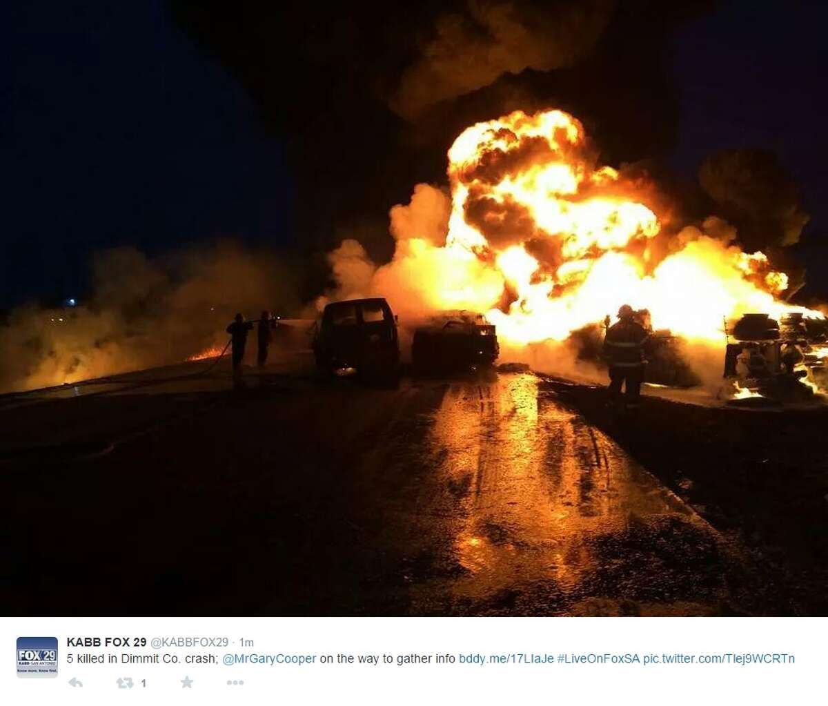Five men died Thursday morning in a fiery four-car crash in South Texas. Texas Department of Public Safety Trooper Maria Loredo said the crash happened on U.S. 83 in Dimmit County, about 115 miles south of San Antonio. Photo via @KABBFOX29