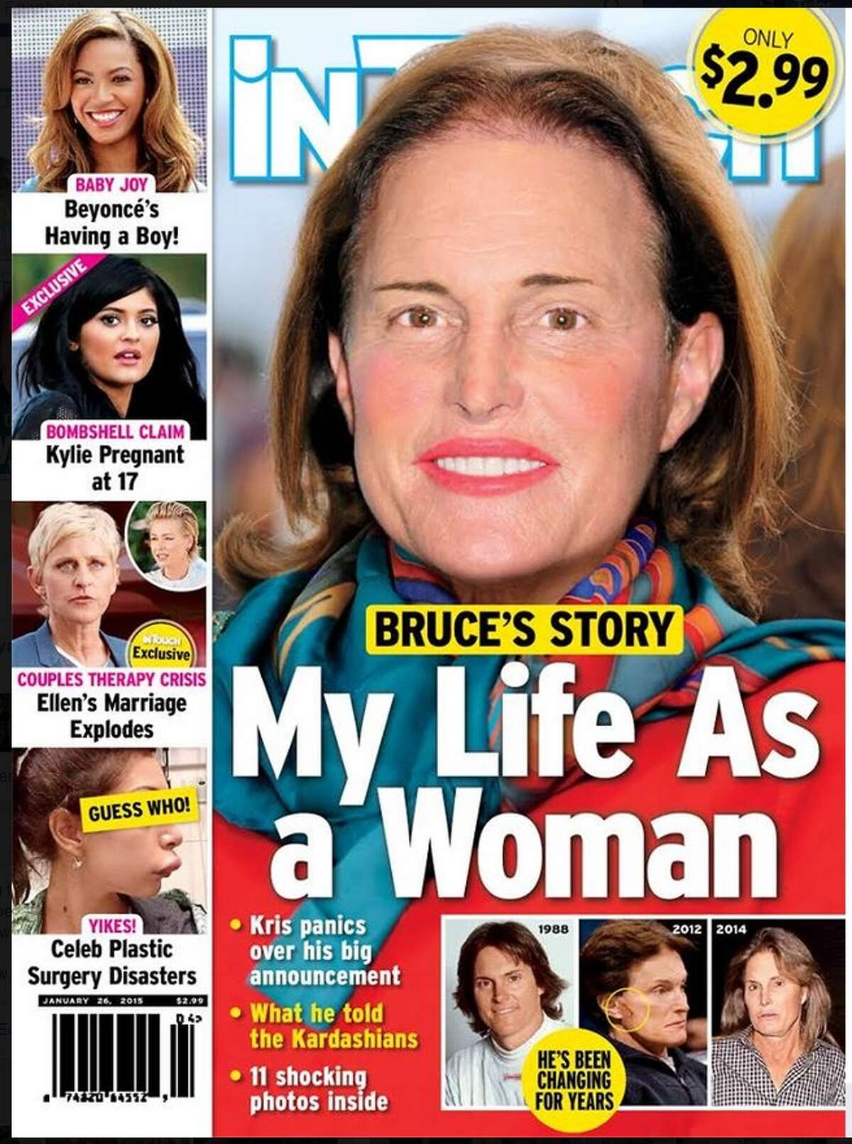 Photo of the controversial InTouch Weekly cover that includes a Photoshopped image of Bruce Jenner wearing makeup.