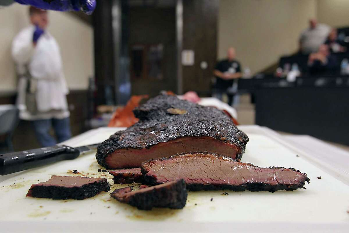 Slices of a smoked brisket during Foodways Texas and Texas A&M University's Camp Brisket in College Station.