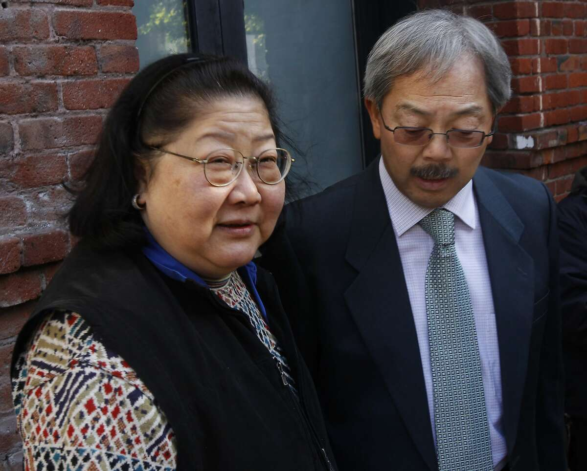 Rose Pak meets with Mayor Ed Lee after the mayor toured a fire-damaged apartment building at 920 Montgomery Street with Board of Supervisors President David Chiu in San Francisco.