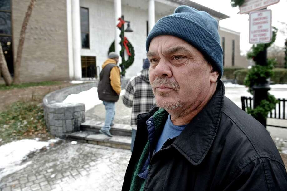 """Drice Pickel Jr, of Danbury,  said he is a long time advocate for the homeless, and used to be on the street himself, while discussing the new campaign purposed by the City of Danbury to discourage people from giving money to panhandlers. Picked was in the Danbury Library Plaza on Thursday, January 15, 2015, in Danbury, Conn. Picked said """"I want to see everybody have a bed"""". Photo: H John Voorhees III / The News-Times"""