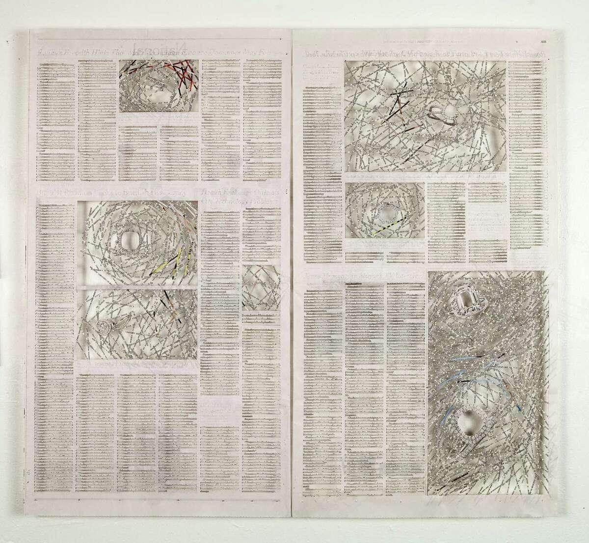 Shanti Grumbine, Zero (detail), 2014, de-acidified New York Times newspaper, jade glue, 22 x 24 inches