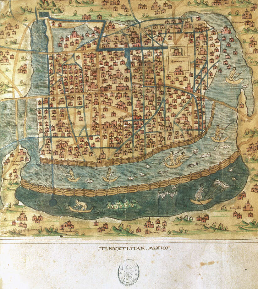 Map of Tenochtitlan, Mexico, 1560, General islario of all the islands in the world, Work of the chronicler and cosmographer Alonso de Santa Cruz (1505-1567), National Library, Madrid, Spain. Photo: UniversalImagesGroup, Getty Images / Universal Images Group Editorial