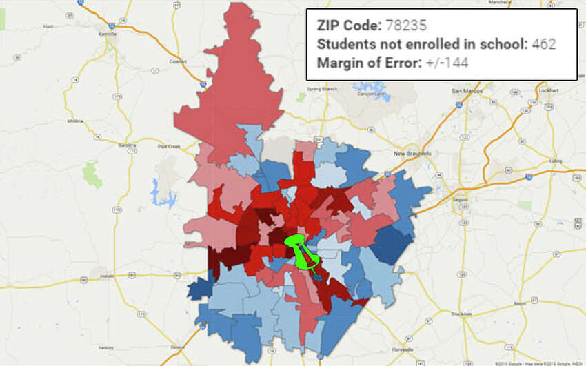 ZIP: 78235 Falls into the group of ZIP codes with lowest school non-enrollment rates.