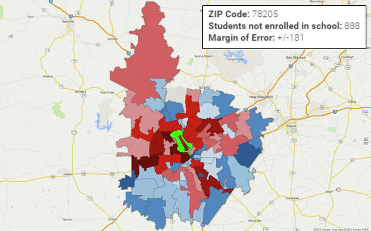ZIP: 78205 Falls into the group of ZIP codes with lowest school non-enrollment rates.