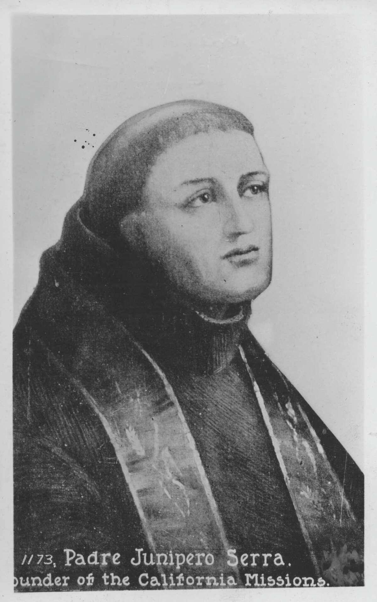 An image of Father Junipero Serra, taken from a postcard.
